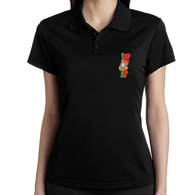 Teeburon Portugal Country Map Color Simple Polo Camisa Mujer ...