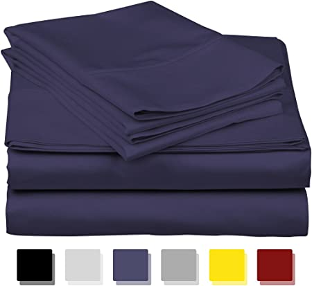 Complete Bedding Set Navy Blue Solid Choose US Sizes 1000 TC 100/%Egyptian Cotton