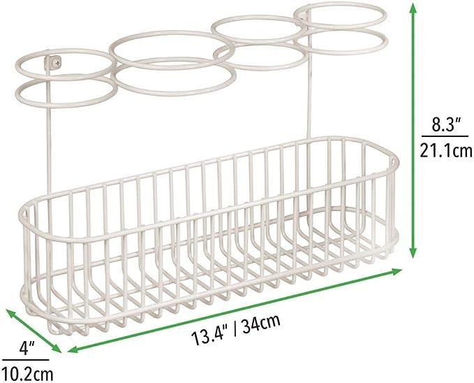 Portaphon in metallo con 4 alloggi e un capiente cestello inferiore crema mDesign Porta asciugacapelli da parete Ideale anche come porta piastra o porta arricciacapelli