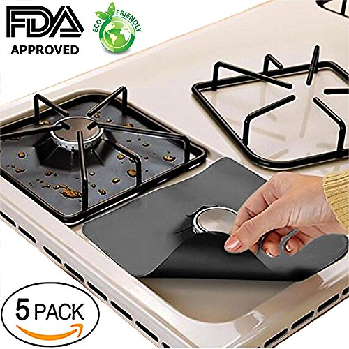 Stove Burner Covers Gas Range Protectors Fiberglass Liner Clean Mat Pad Non-Stick Cuttable Size 10.6x10.6 (5 Pack)