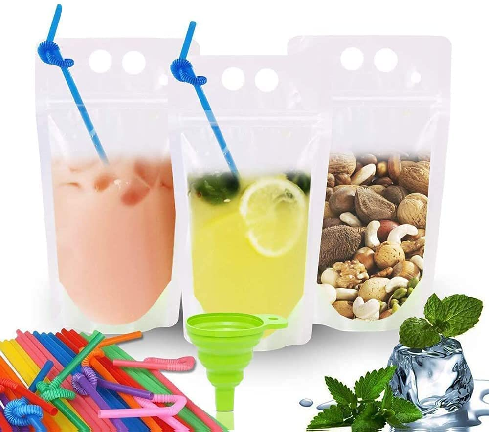 POKONBOY 100 Pcs Clear Drink Pouches Bags Smoothie Bags Food Storage Bags Reusable Snack Bags with 100 Drink Straws, Drinking Bags Non-Toxic, BPA & Phthalate Free