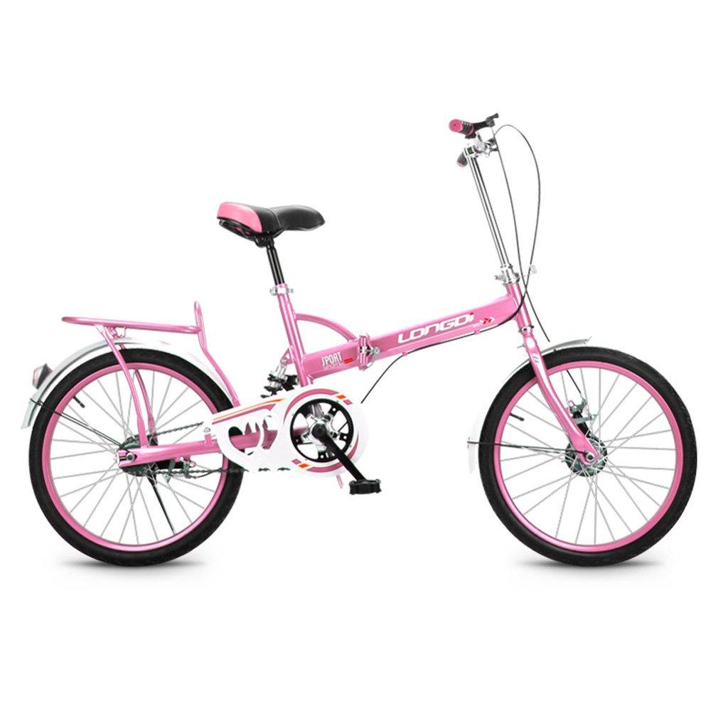 折りたたみ自転車20インチ大人シングルスピードショックアブソーバ高炭素鋼の自転車男性と女性の子供用自転車、ブラック/ブルー/ピンク/グリーン (Color : Pink)   B07CYRYV7R
