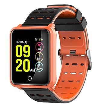 ... Cardíaca Presión Arterial IP68 Prenda Impermeable Información Contador Empuje Bluetooth Pulsera Reloj Inteligente (Color : Orange): Amazon.es: Hogar