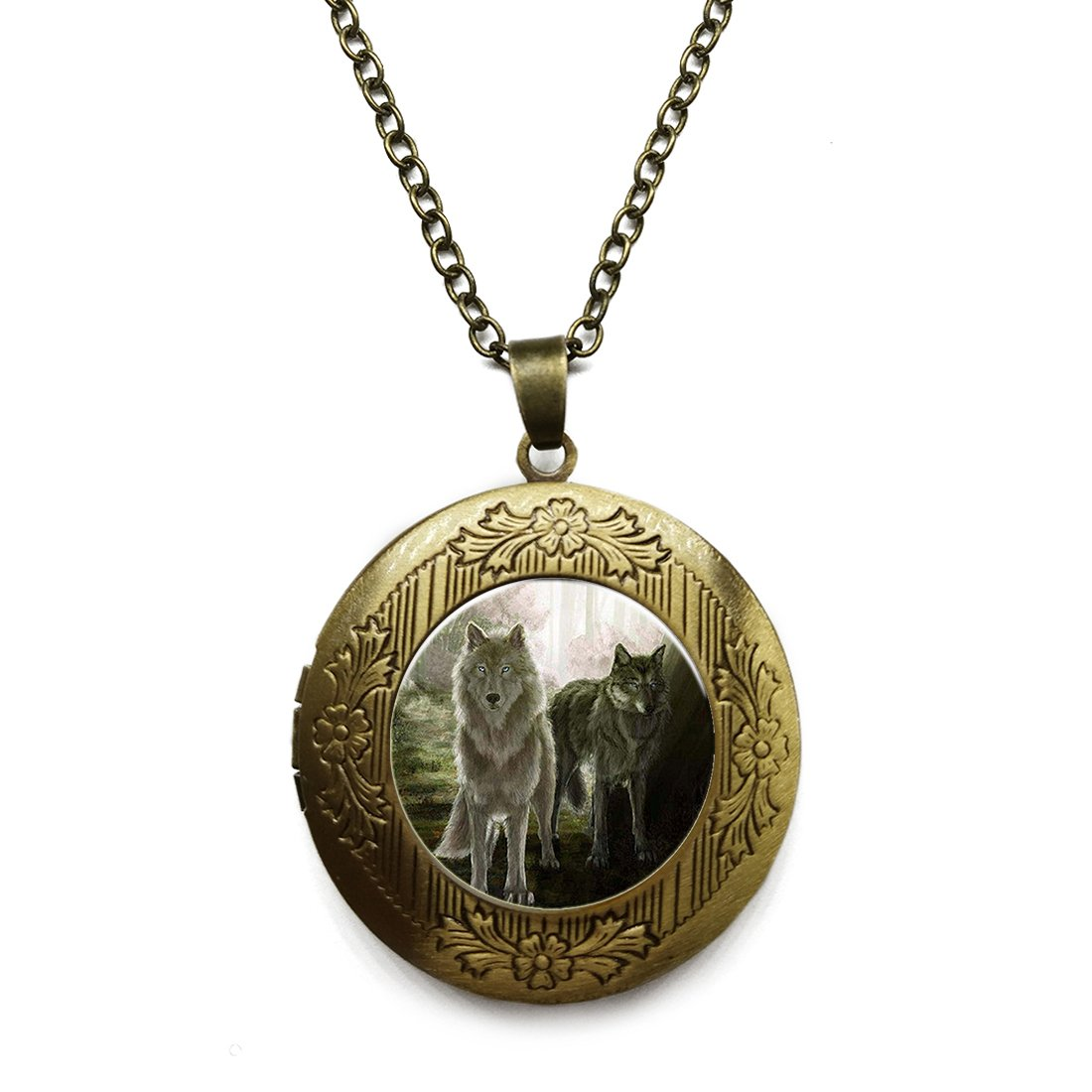 Vintage Bronze Tone Locket Picture Pendant Necklace Older Wolf Included Free Brass Chain Gifts Personalized