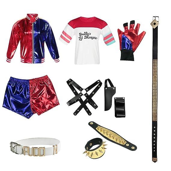 Juego de Halloween Harley Quinn Costume Suicide Squad Ropa de Cosplay para Mujer (A,