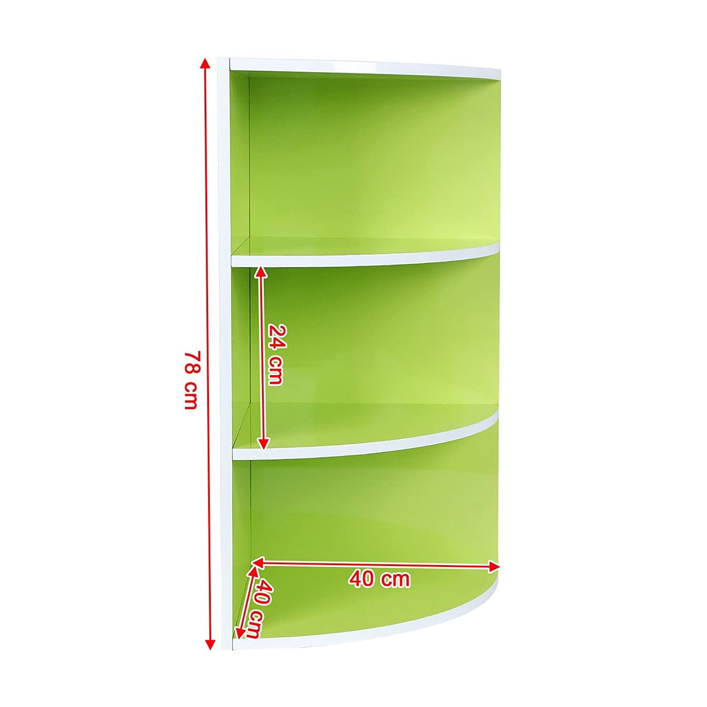 Songmics weiß-grün 40 x 40 x 78 cm Eckregal Bücherregal Küchenregal ...
