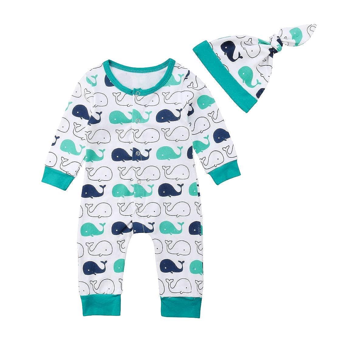 Hat Jumpsuit Bodysuit Outfit Clothes VISGOGO Infant Kid Baby Boy Girl Whale Romper
