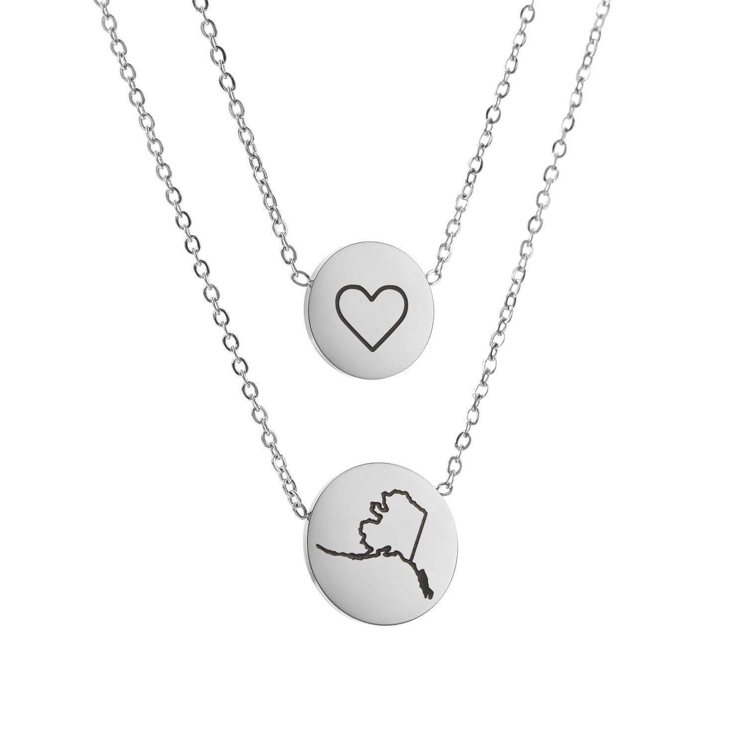 State Pendant Necklace Alaska AK - Heart Disc Double Chain Stainless Steel