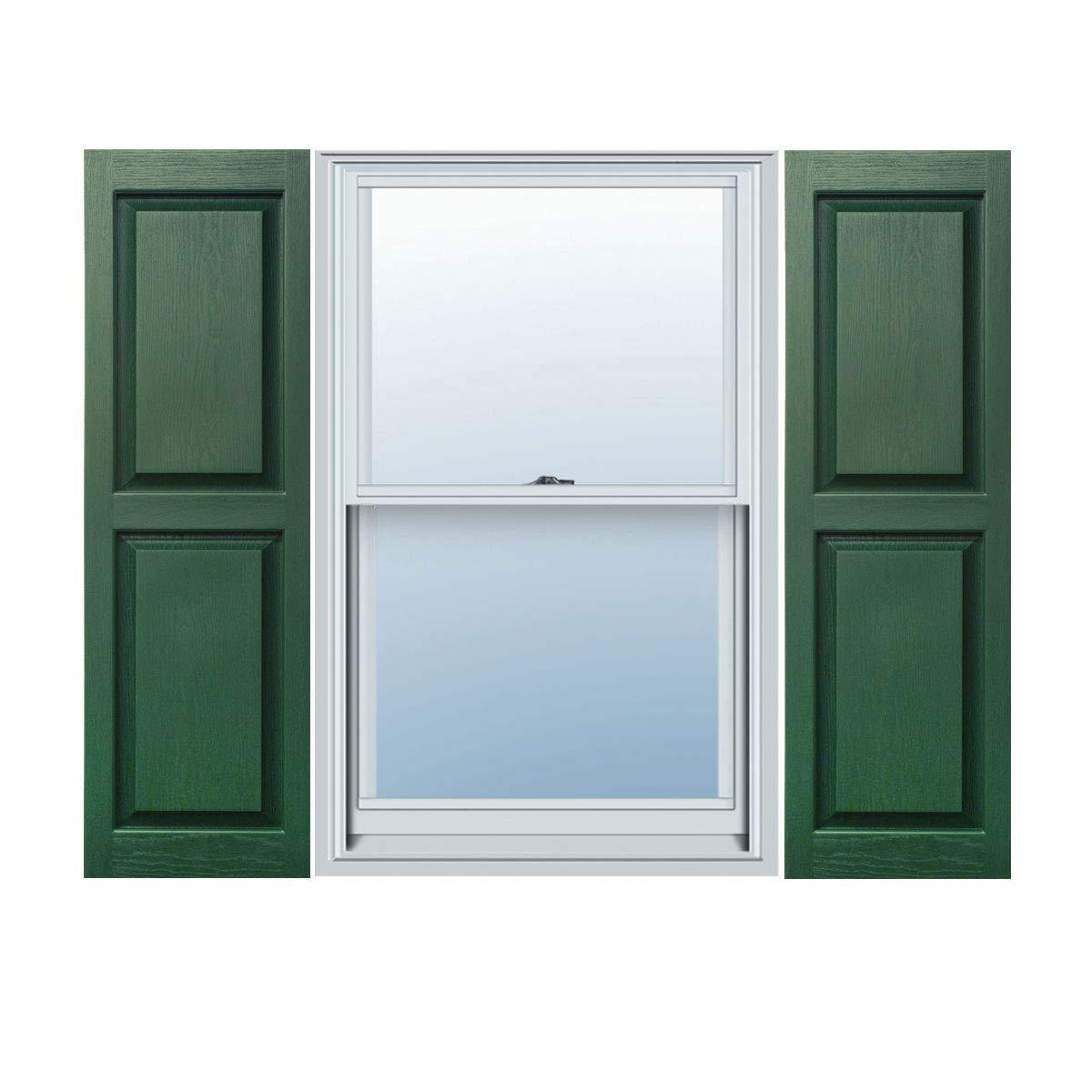 12 x 35 Builders Choice Vinyl Raised Panel Window Shutters Forest Green Per Pair w//Shutter Spikes /& Screws