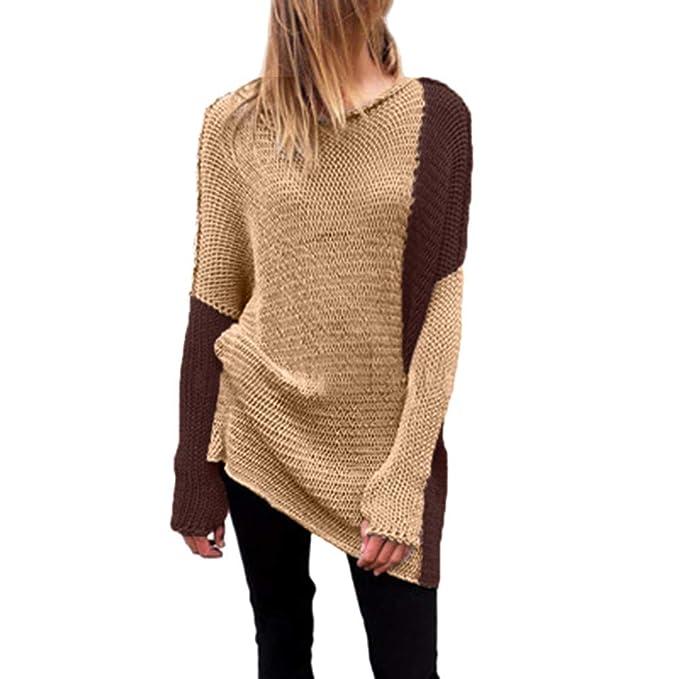 Luckycat Sudadera de Invierno de Manga Larga para Mujer Sudadera de Malla Suelta para suéter sólido