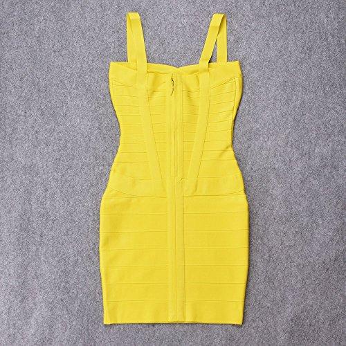 HLBandage Spaghetti Bügel Damen Kunstseide Mini Verband Kleid Gelb ebAkOOS6z