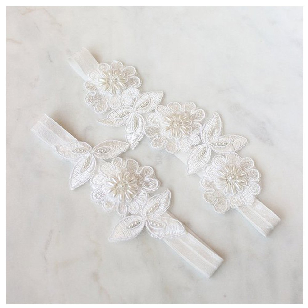 yanstar Wedding Bridal Garter White Stretch Lace Pearls Bridal Garter Sets Wedding