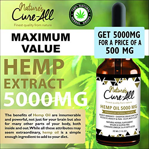 61 BmdZoYRL - (1-Pack) Premium and Powerful Hemp Extract 5000mg | Natural & Herbal Hemp Drops | Made with Organic Whole Plant | Soothing Mint Flavor | Helps with Sleep, Stress, Anxiety, Inflammation & Skin Health
