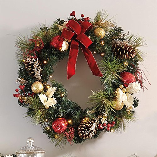 brylanehome cordless led wreath green0