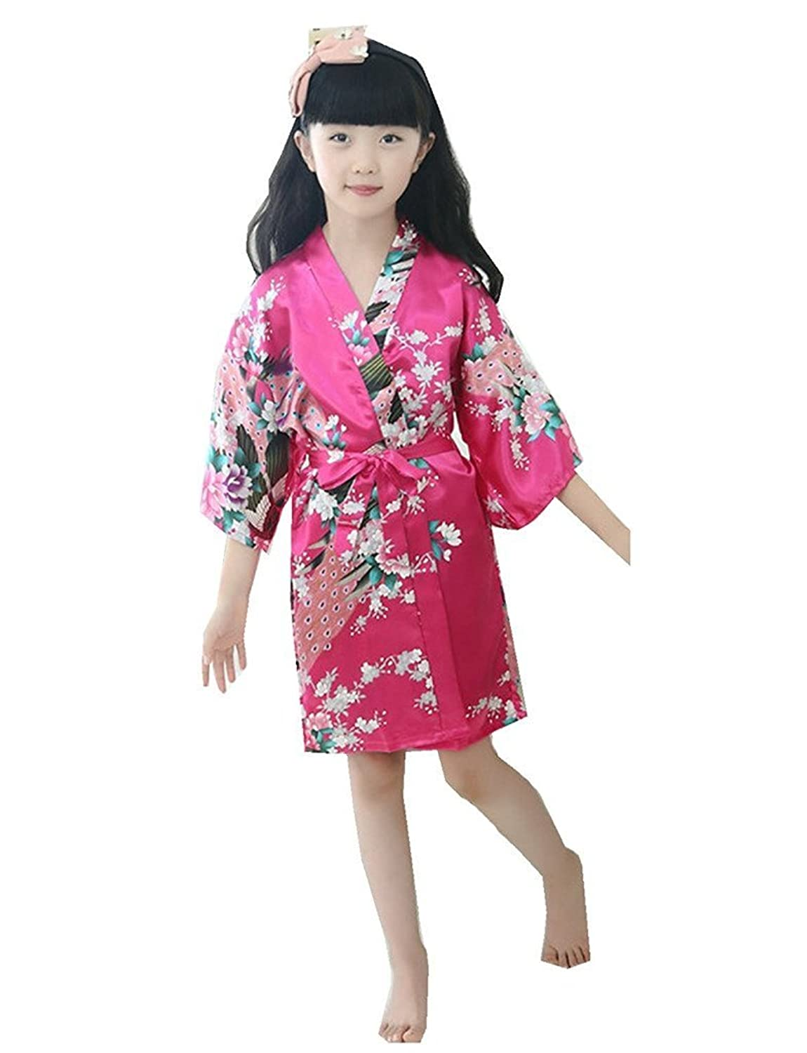 Fortuning's JDS 3/4 Sleeve Peacock and floral printed Silk Kimono Robes For Girls