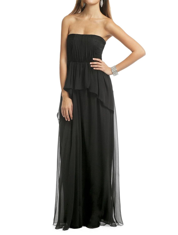 AngelDragon Elegant Strapless Ruffles Formal Evening Dress Chiffon Long Gowns