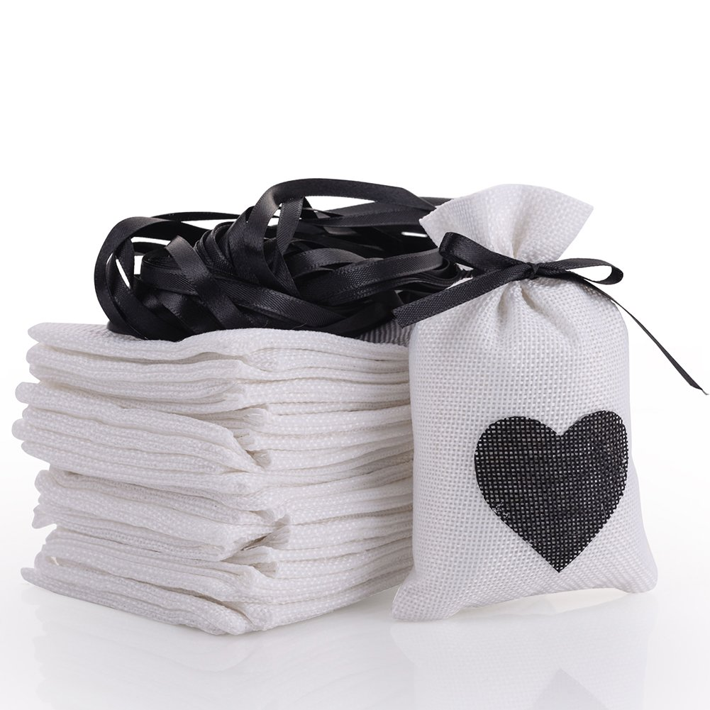 handrong 30pcs Burlap Bags Gift Pouches Heart Small Candy Jewelry Storage Package Sack for Wedding Bridal Shower Birthday Party Christmas Valentine's Day Favors DIY Craft, 5.5x3.7 inch (Black)