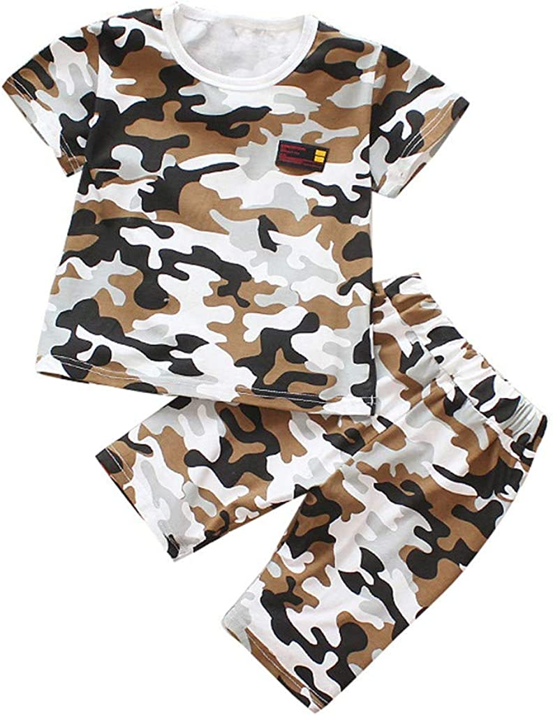 SIN vimklo Babys Short Sleeve Camouflage Print Tops T-Shirt+Shorts Set Outfits