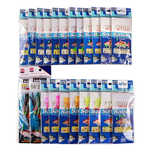 FREE FISHER Assorted 22 Packs Freshwater/Saltwater Fishing Sabiki Bait Rigs Fish Skin/Feather ()