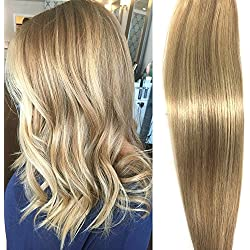 Human Hair Extensions Clip in Dirty Blonde Highlights 15 inch Remy Straight Hair for Fine Hair Full Head
