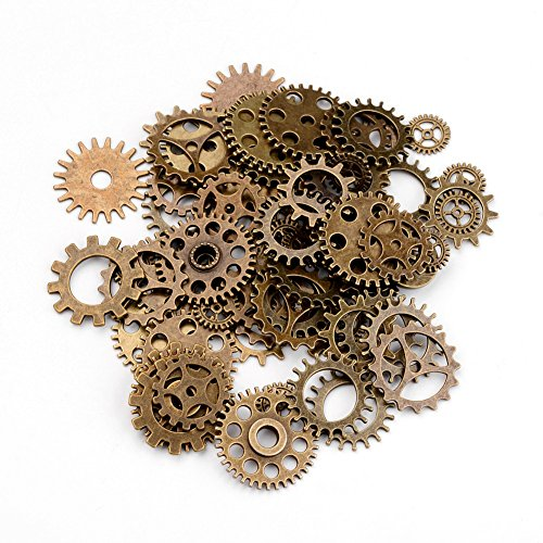 Kissitty 100 Gram Assorted Antique Bronze Metal Steampunk Gear Watch Wheel Charms Clock Whell Cog Pendants 0.75~0.98