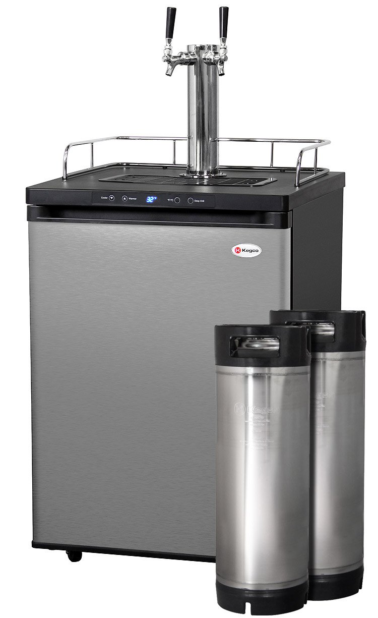 Kegco Full-Size Digital Homebrew Kegerator Dual Faucet Stainless with Ball Lock Keg