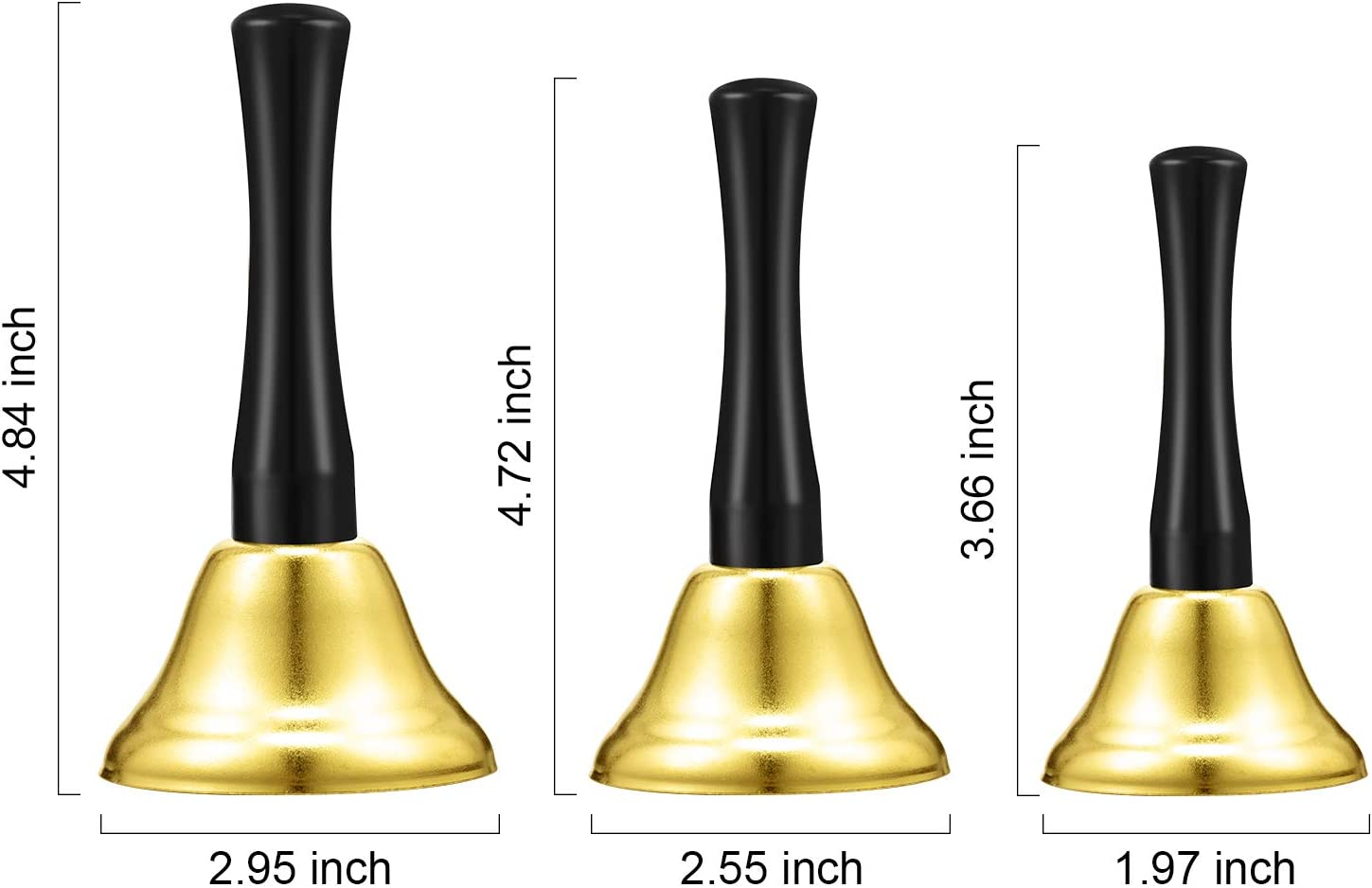 Gold 3 Pieces Steel Handbell Hand Bell Call Bell Black Wooden Handle Diatonic Metal Bells Musical Percussion