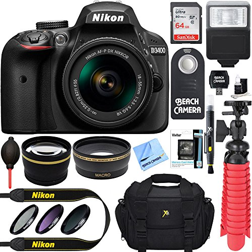 Nikon D3400 24.2 MP DSLR Camera + AF-P DX 18-55mm VR NIKKOR Lens Kit + Accessory Bundle 64GB SDXC Memory + SLR Photo Bag + Wide Angle Lens + 2x Telephoto Lens + Flash + Remote + Tripod+Filters (Black) by Nikon