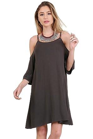 51e6b7681d4dc Umgee Women's Bohemian Open Shoulder Ruffle Sleeve Dress at Amazon Women's  Clothing store: