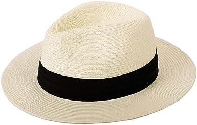 Panama Straw Hat with Grey Ribbon,Womens Sun Hats Wide Brim Summer Fedora Beach Cap UPF50+