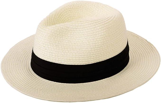Elonglin Boater Hats Flat Top Straw Hat Summer Hats Panama Hats for Kids Dark Beige