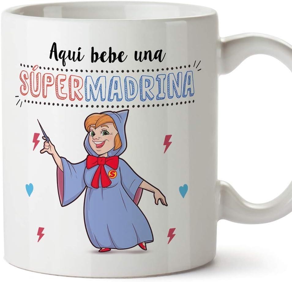 MUGFFINS Taza Madrina – Aquí Bebe una Super Madrina – Taza Desayuno/Idea Regalo Día de Pascua. Cerámica 350 mL