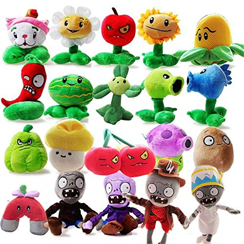 OLIA DESIGN OliaDesign Plants vs. Zombies Plush Toy Set (20 Piece), Small (Lot 15-20cm/6-8 Tall)