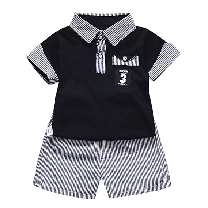 38ab12696f2f Kehen Infant Baby Toddler Boy Summer Clothes 2pc Casual Cotton Clothes  Button Down T-Shirt