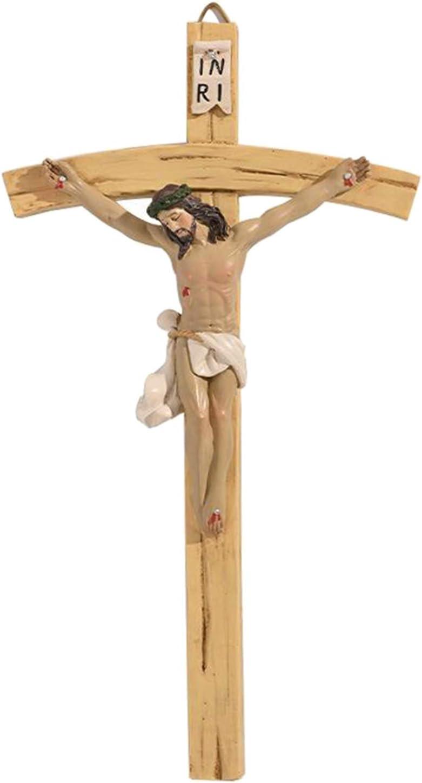 sharprepublic Vintage J/ésus Christ Mur Croix Crucifix Peint /à La Main Religieux Catholique