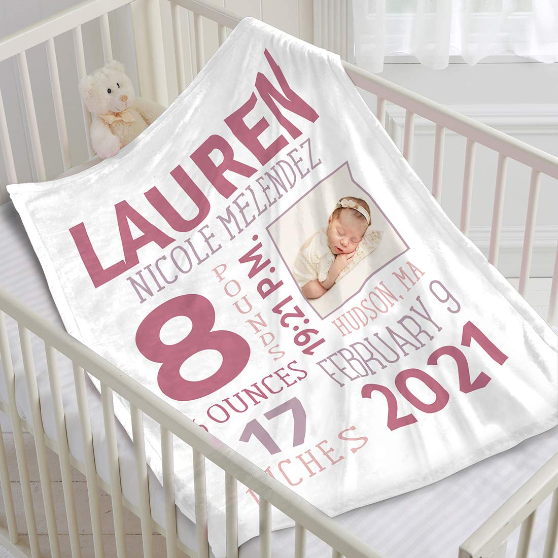 Personalized Baby Photo Newborn New discount life Blanket Birth Information f with