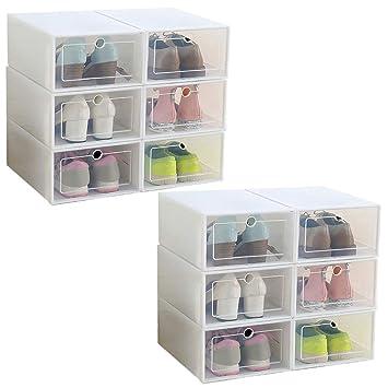 IRONLAND Hommes Femmes Rangement Chaussures Lot de 12 Boîte à Chaussure de  Rangement 336fc8b26946