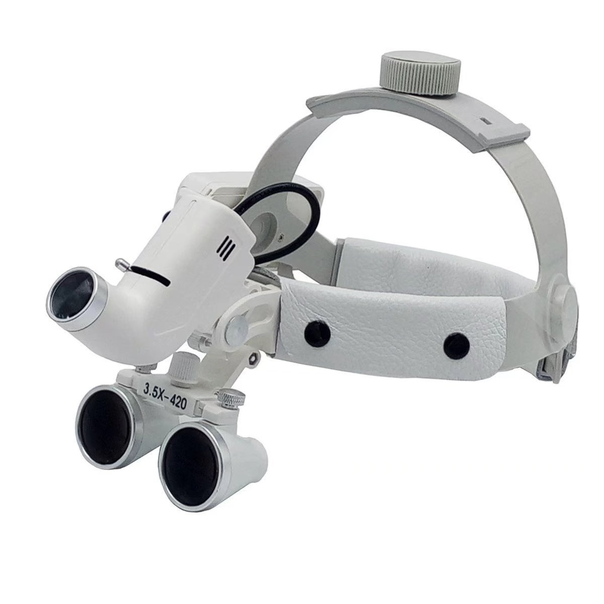 SoHome Dental Surgical Medical 3.5X420mm Adjustable Headband Loupe with LED Headlight DY-106 White