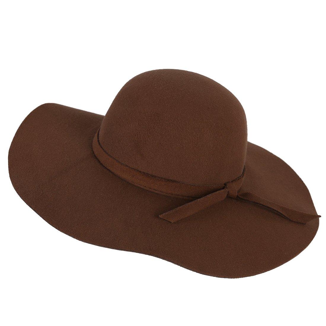 f127315a6328a4 SODIAL(R) Stylish Kids Girls Wide Brim Retro Felt Bowler Floppy Cap Cloche  Hat-Brown: Amazon.co.uk: Clothing