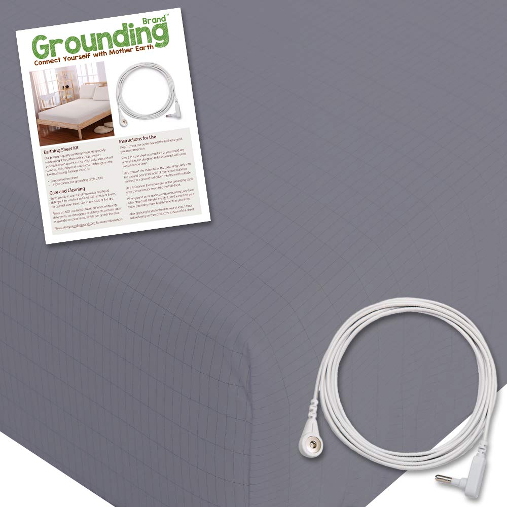 Grounding Brand Fitted King Size Sheet with Grounding Connection Cable, 400TC Conductive Mat with Pure Silver Thread for Better Sleep, Natural Wellness and Healthy Earth Energy, Grey