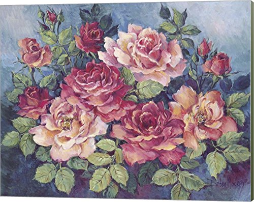 Victorian Roses by Barbara Mock Canvas Art Wall Picture, Museum Wrapped with Sage Green Sides, 20 x 16 inches Barbara Mock Roses
