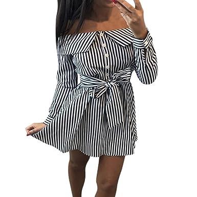 85471a8261 Fashion Women's Casual Dress,Stekima Ladies Casual Off Shoulder Striped  Button T-Shirt Mini