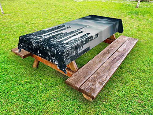 Lunarable Night Outdoor Tablecloth, Urban Themed Los Angeles United States Skyline at Night Skyscrapers Digital Artwork, Decorative Washable Picnic Table Cloth, 58