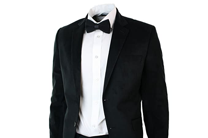 Mens Velvet Slim Fit Black Suit Blazer Trouser & Bow Tie Wedding ...
