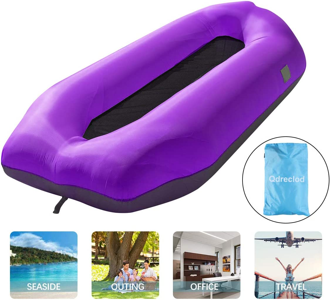 Qdreclod Inflatable Lounger Air Sofa Amphibious Water Hammock Portable Fast Inflatable Couch,Tear-Resistant Fabric,Compact Carry Bag,Fixed Pile,Ideal for Outdoor Camping,Picnic,Beach,Pool