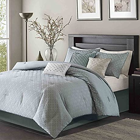 Madison Park Stylish Premium Quality Elegant Biloxi Blue 7 Piece King Size Comforter Set 1 Comforter 2 King Shams 1 Bed Skirt 3 Decorative Pillows