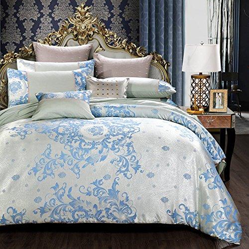 Abreeze 4-Piece Luxury Reversible Satin Cotton Duvet Covers, Elegant European Jacquard Girls Bedding Queen Light Blue by Abreeze
