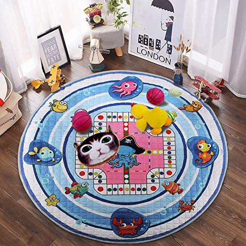 Winthome Baby Kids Play Mat Foldable Soft and Washable Toys Storage Organizer Children Play Rugs with 59 inches Large Diameter Sea Animals