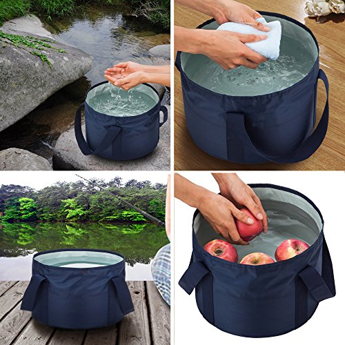 chuanyuekeji Outdoor Compact Collapsible Bucket Camping Water Container with Oxford cloth Portable Folding for Hiking Travelling Fishing Washing and Boating 17L/4.5 gal(Blue) (Time Apple Picnic)