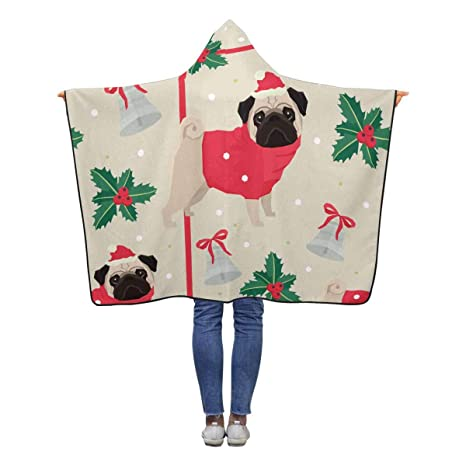 23deebefbf9 Image Unavailable. Image not available for. Color  INTERESTPRINT Christmas  Cute Pug Dog Throw ...